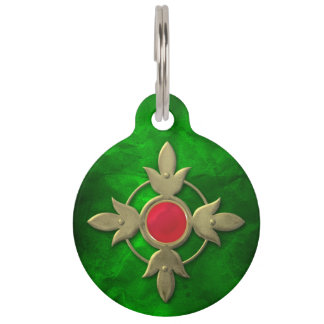 Gema verde roja de Steampunk Identificador Para Mascota