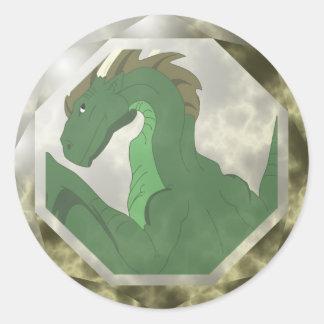 Gema verde y amarilla fresca del dragón pegatinas redondas