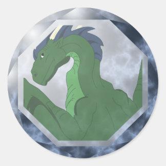 Gema verde y azul fresca del dragón pegatina redonda