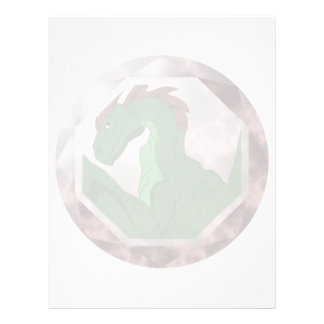 Gema verde y roja fresca del dragón membrete personalizado