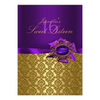 Gema y invitación del dulce 16 de Bow|Purple