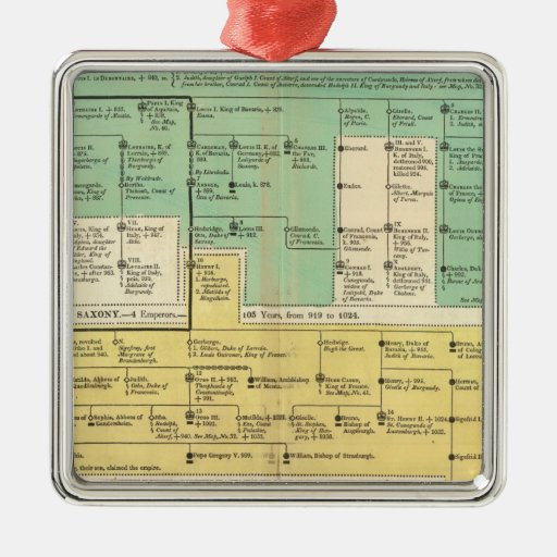 Geman Empire from 800 to 1273 Square Metal Christmas Ornament