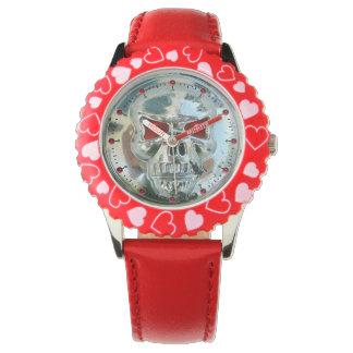 Gemas de rubíes rojas IMPRESAS del CRÁNEO del Relojes De Pulsera