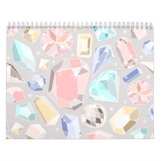 Gemas en colores pastel de la aguamarina del rosa  calendarios