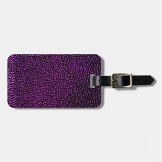 Gemas púrpuras pintadas etiqueta de equipaje