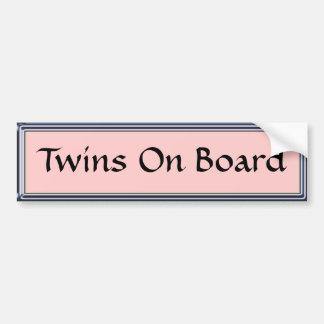 Gemelos a bordo pegatina para el parachoques rosad pegatina de parachoque
