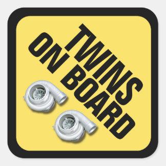 Gemelos a bordo - Turbo gemelo Pegatina Cuadrada