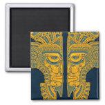 Gemelos aztecas azules de oro imán de frigorífico