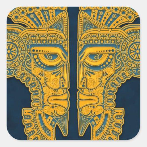 Gemelos aztecas azules de oro pegatina cuadrada