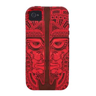 Gemelos aztecas rojos iPhone 4/4S carcasas