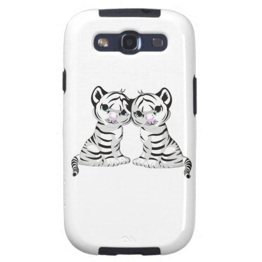Gemelos blancos del tigre galaxy s3 cárcasa