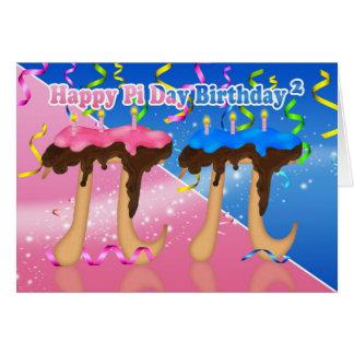 Gemelos cumpleaños torta pi día 3,14 tarjeta del 1