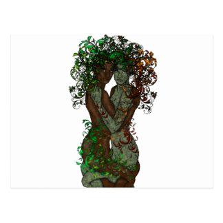 Gemelos de la dríada de la diosa del árbol tarjeta postal