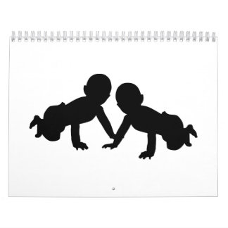 Gemelos de los bebés calendarios de pared