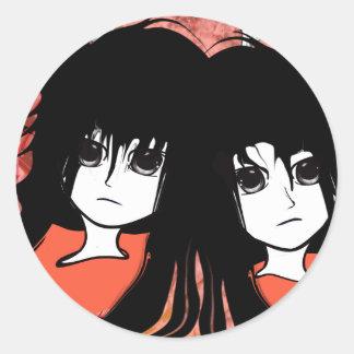Gemelos del animado pegatina redonda