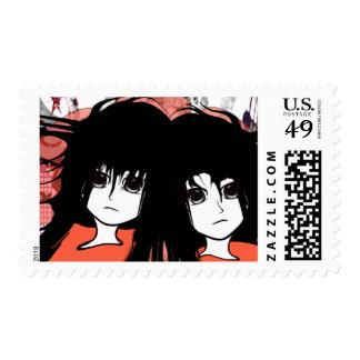 Gemelos del animado sello postal