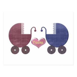 Gemelos del bebé del muchacho y del chica, diseño postal