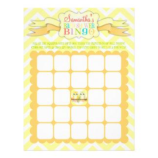 Gemelos del búho - bingo de la fiesta de bienvenid tarjetones