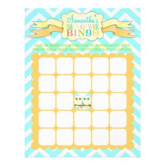 Gemelos del búho - bingo de la fiesta de bienvenid tarjeta publicitaria