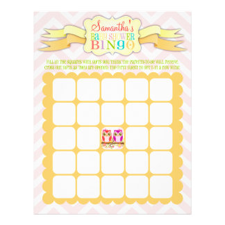 Gemelos del búho - bingo de la fiesta de bienvenid tarjetón