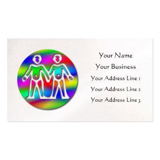 Gemelos del color del arco iris de los géminis en tarjetas de visita