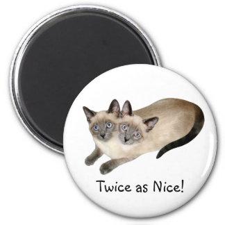 Gemelos del gato siamés imán redondo 5 cm