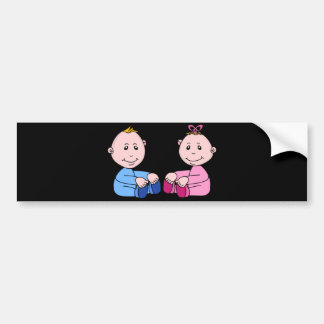Gemelos del muchacho y del chica pegatina para auto