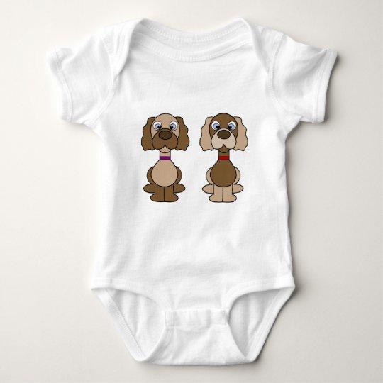 Gemelos del perrito body para bebé