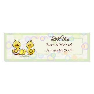 Gemelos Ducky - etiqueta del favor de las gracias Tarjetas De Visita