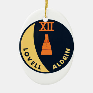 Gemini 12 Lovell and Aldrin Double-Sided Oval Ceramic Christmas Ornament