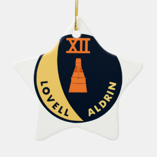 Gemini 12 Lovell and Aldrin Double-Sided Star Ceramic Christmas Ornament