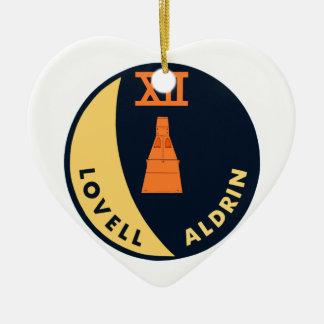 Gemini 12 Lovell and Aldrin Double-Sided Heart Ceramic Christmas Ornament
