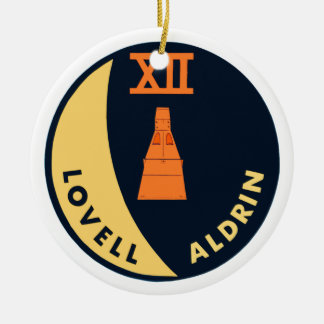 Gemini 12 Lovell and Aldrin Double-Sided Ceramic Round Christmas Ornament