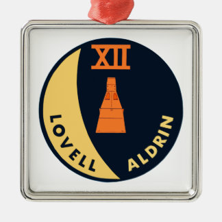 Gemini 12 Lovell and Aldrin Square Metal Christmas Ornament