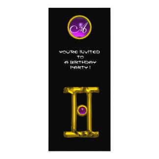 GEMINI ALEXANDRITE MONOGRAM,amethyst bright black Personalized Invitations