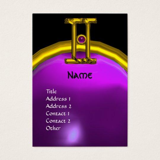 GEMINI, ALEXANDRITE  MONOGRAM bright black purple Business Card