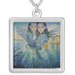 Gemini Angels Square Pendant Necklace