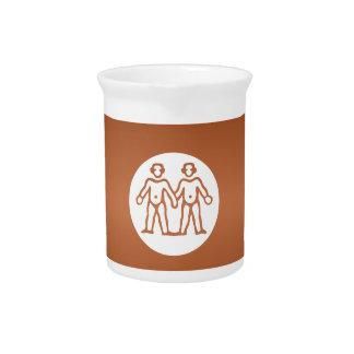 GEMINI Astrology Zodiac Symbol Beverage Pitchers