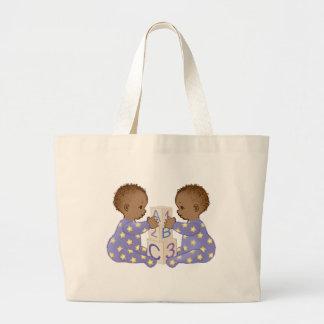 Gemini AstrologyBabies - dark skin Canvas Bags