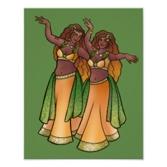 Gemini Belly Dancers Zodiac Bellydance Art Poster
