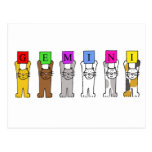 Gemini Birthday cartoon cats. Post Cards