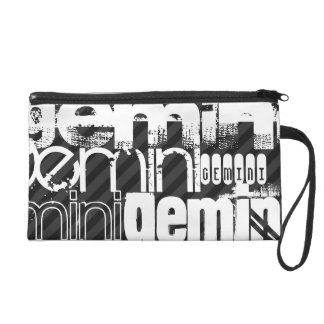 Gemini; Black & Dark Gray Stripes Wristlet Purse