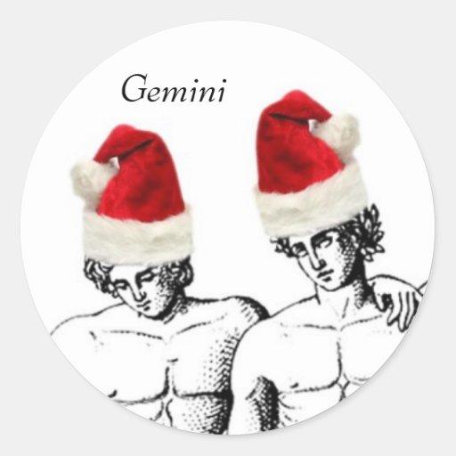 Gemini Christmas Round Sticker
