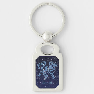 Gemini Constellation and Zodiac Sign with Stars Keychain