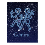 Gemini Constellation and Zodiac Sign with Stars Postcard