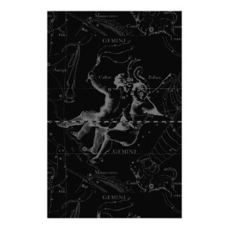 Gemini Constellation Map Engraving by Hevelius Stationery