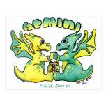 gemini cute zodiac little wings dragon postcards