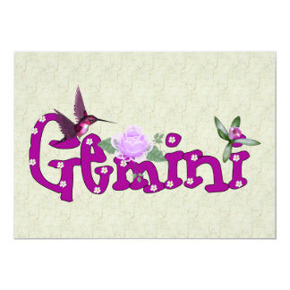"Gemini Flowers 5"" X 7"" Invitation Card"