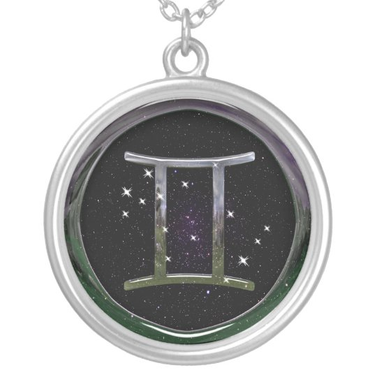 Gemini Glass Silver Plated Necklace