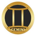 GEMINI GOLD ZODIAC SIGN CLASSIC ROUND STICKER